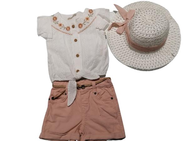 Moonstar Παιδικό Σετ Πουκαμισάκι, Σορτς Και Καπέλο Για Κορίτσι, Ροζ