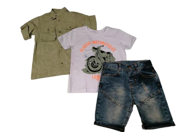 Bebus Παιδιικό Σετ 3 Τμχ Πουκάμισο, Παντελόνι Και Βερμούδα Για Αγόρι, Χακί