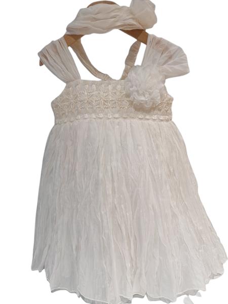 NEONATO Vintage Αμπιγιέ Φόρεμα Τσαλακωτό Και Κορδέλα Για Ενός Έτους, Εκρού
