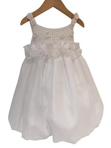 NEONATO Αμπιγιέ Φόρεμα Με Πλεχτά Λουλούδια Για Ενός Έτους, Λευκό