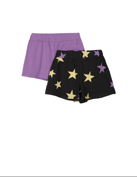 Zippy Παιδικό Σετ 2 Μακώ Σόρτς Για Κορίτσι Αστέρια, Λιλά Κίτρινο