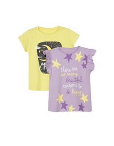 Zippy Παιδικό Σετ 2 Κοντομάνικες Μπλούζες Για Κορίτσι Αστέρια, Λιλά Κίτρινο