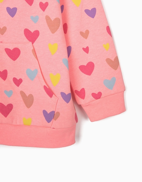 Zippy Παιδική Ζακέτα Φούτερ Καρδιές, Ροζ