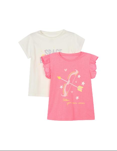 Zippy Παιδικό Σετ 2 Κοντομάνικες Μπλούζες Για Κορίτσι Τόξο, Ροζ Λευκό