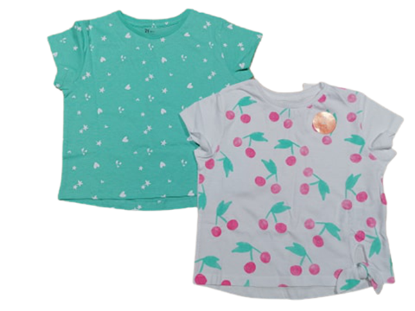 Zippy Παιδικό Σετ 2 Κοντομάνικες Μπλούζες Για Κορίτσι Κερασάκια, Μέντα Λευκό