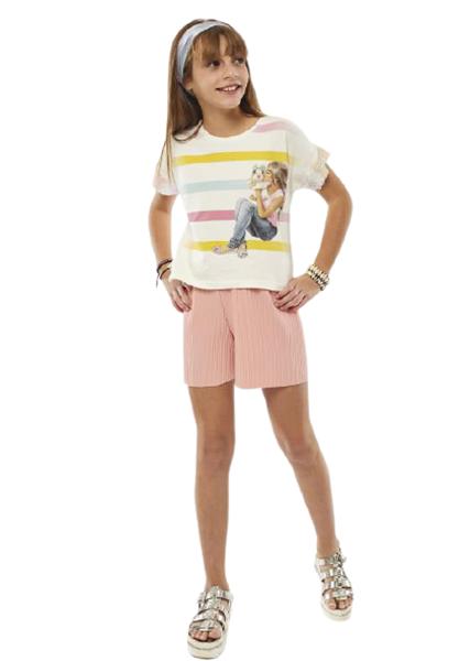 Εβίτα Fashion Σετ Σορτς Ζέρσεϋ Με Μπλούζα Ρίγες, Ροζ