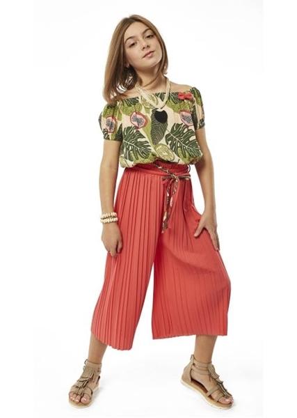 Εβίτα Fashion Σετ Παντελόνα και Τοπ Tropical , Κοραλί