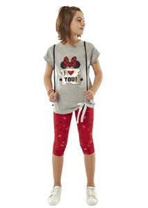 Εβίτα Fashion Σετ Κάπρι, Με Κοντομάνικη Μπλούζα Minnie, Κόκκινο