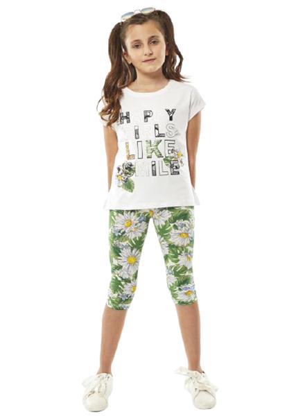 Εβίτα Fashion Σετ Κάπρι, Με Κοντομάνικη Μπλούζα Μαργαρίτες, Λευκό