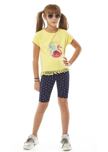 Εβίτα Fashion Σετ Ποδηλατικό, Με Κοντομάνικη Μπλούζα Και Κρόσια Flamingo, Κίτρινο