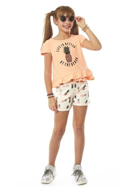 Εβίτα Fashion Μακώ Σετ Σόρτς Με Μπλούζα Ανανάς, Πορτοκαλί