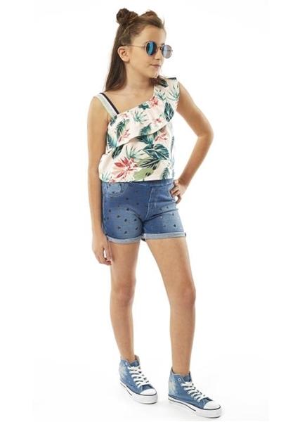Εβίτα Fashion Σετ Σόρτς Τύπου Τζιν Καρδιές Με Μπλούζα Τιράντα, Εμπριμέ