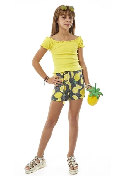 Εβίτα Fashion Σετ Σόρτς Με Μπλούζα Λεμονάκια, Κίτρινο