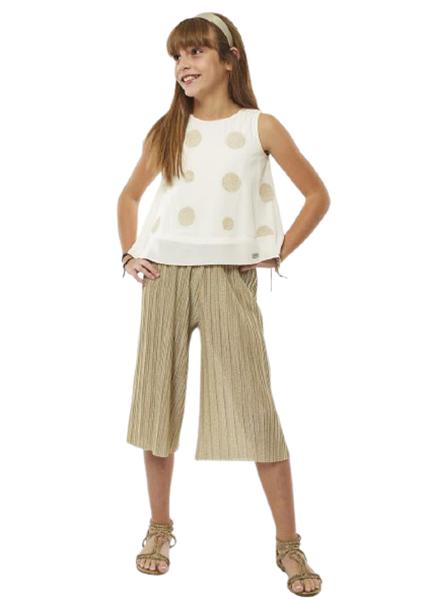 Εβίτα Fashion Σετ Παντελόνα Ζιπ Με Τοπ, Χρυσό