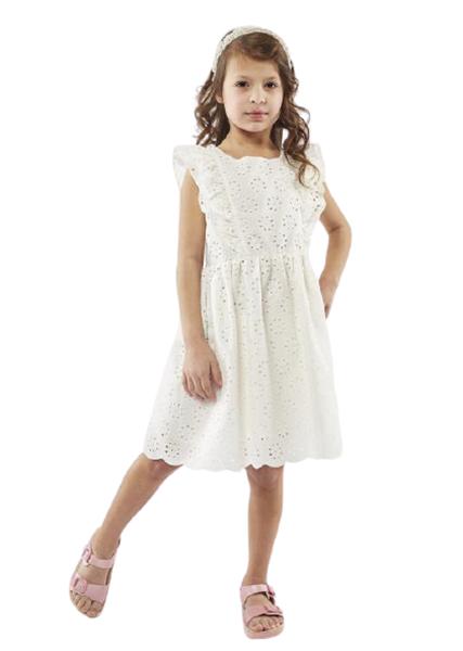 Εβίτα Fashion Παιδικό Φόρεμα Κιπούρ Με Βολάν, Λευκό
