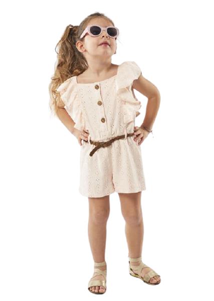 Εβίτα Fashion Παιδική Ολόσωμη Φόρμα Με Ζωνάκι Κιπούρ Με Βολάν, Ροζ