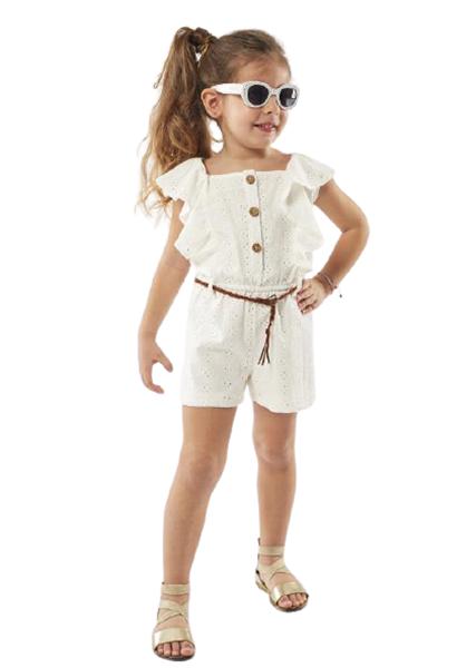 Εβίτα Fashion Παιδική Ολόσωμη Φόρμα Με Ζωνάκι Κιπούρ Με Βολάν, Λευκό