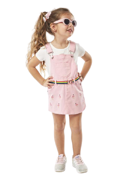 Εβίτα Fashion Σετ Παιδική Σαλοπέτα Φόρεμα Με Μπλούζα Φλαμίνγκο, Ροζ