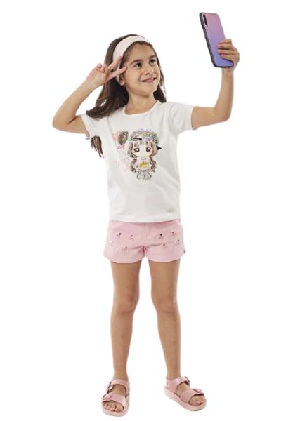 Εβίτα Fashion Σετ Παιδικό Σόρτς Και Μπλούζα Φλαμίνγκο, Ροζ