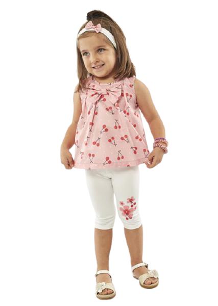Εβίτα Fashion Bebe Σετ Κολάν Με Μπλούζα Και Κορδέλα Κερασάκια, Ροζ