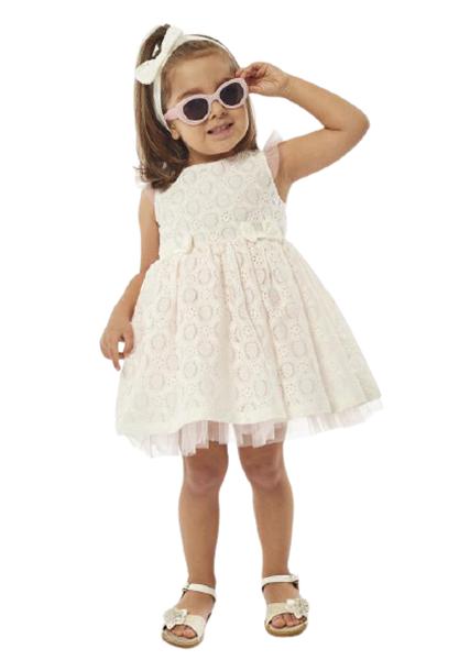 Εβίτα Fashion Bebe Φόρεμα Κιπούρ Με Κορδέλα, Λευκό