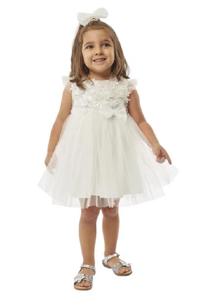 Εβίτα Fashion Bebe Φόρεμα Αμπιγιέ Λουλούδια Με Τούλι Και Κορδέλα, Λευκό