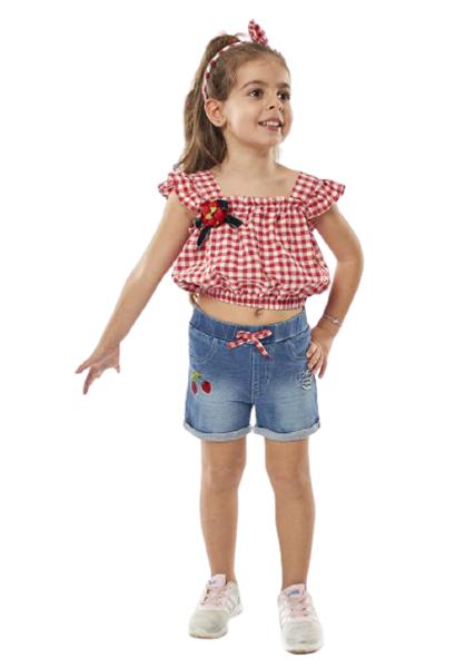 Εβίτα Fashion Σετ Παιδικό Σόρτς Και Καρώ Πουκαμίσα Και Στέκα, Κόκκινο