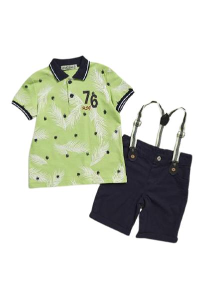 Hashtag Παιδικό Σετ Βερμούδα Μπλούζα Πόλο Leaf, Λαχανί