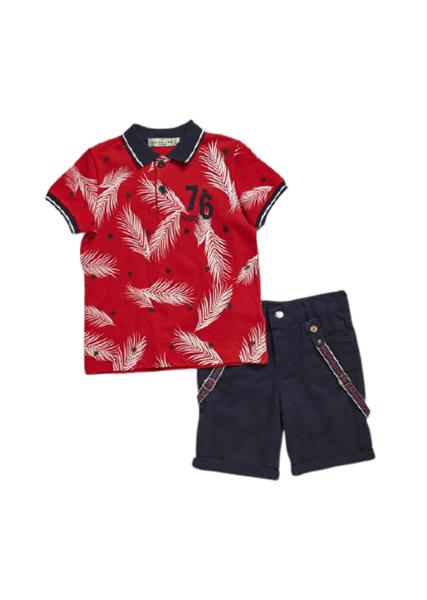 Hashtag Παιδικό Σετ Βερμούδα Μπλούζα Πόλο Leaf, Κόκκινο