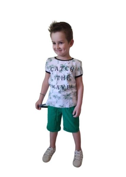 Hashtag Παιδικό Σετ Βερμούδα Μπλούζα Catch The Waves, Πράσινο