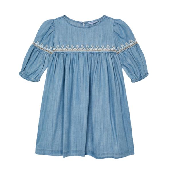 Mayoral Παιδικό Κεντητό Φόρεμα Για Κορίτσι Ecofriends, Τζιν