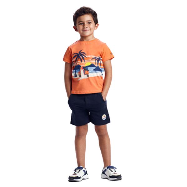 Mayoral Παιδικό Σετ 2 Μπλούζες και Μακώ Βερμπούδα Surf Για Αγόρι, Κοραλί