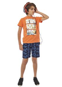 Hashtag Σετ Μπλούζα Και Υφασμάτινη Βερμούδα Με Γύρω Λάστιχο Paradise, Πορτοκαλί
