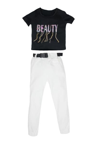 New College Σετ Για Κορίτσι Μακώ Παντελόνι Με Τσαντάκι Και Μπλούζα, Άσπρο