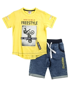 Funky Σετ Τζιν Βερμούδα Με Γύρω Λάστιχο Και Μπλούζα Freestyle, Κίτρινο