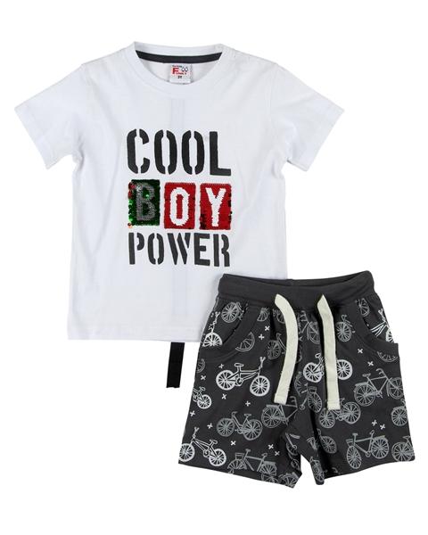 Funky Παιδικό Σετ Μακώ Βερμούδα Και Μπλούζα Cool Boy, Λευκό
