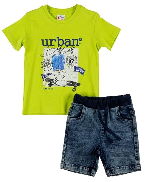 Funky Παιδικό Σετ Τζιν Βερμούδα Με Γύρω Λάστιχο Και Μπλούζα Urban, Lime