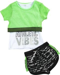 Funky Σετ 3τμχ Σορτς, Μπλούζα Και Δίχτυ Μπουστάκι Fitness, Πράσινο