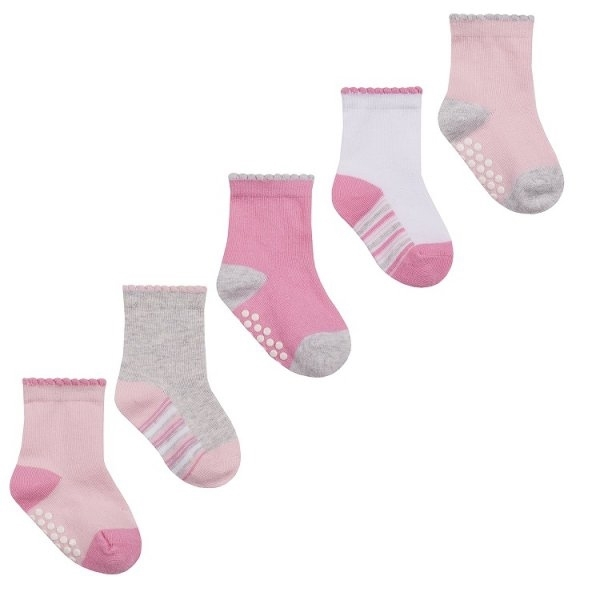 Soft Touch Bebe Σετ 5 Τεμαχίων Αντιολησθητικές Κάλτσες Για Κορίτσια, Ροζ