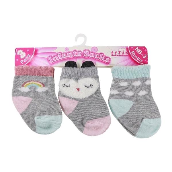 Soft Touch Bebe Σετ 3 Τεμαχίων Κάλτσες Για Κορίτσια Κουκουβάγια, Γκρί