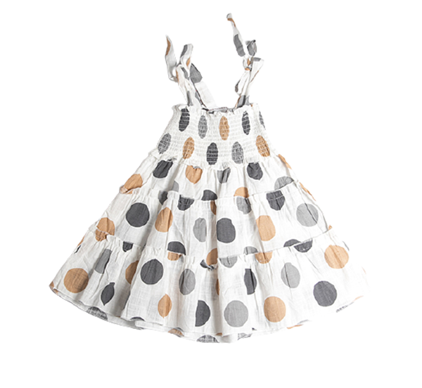 Joyce Φόρεμα Πουά Σφηγγοφωλιά Με Τιράντες, Εκρού