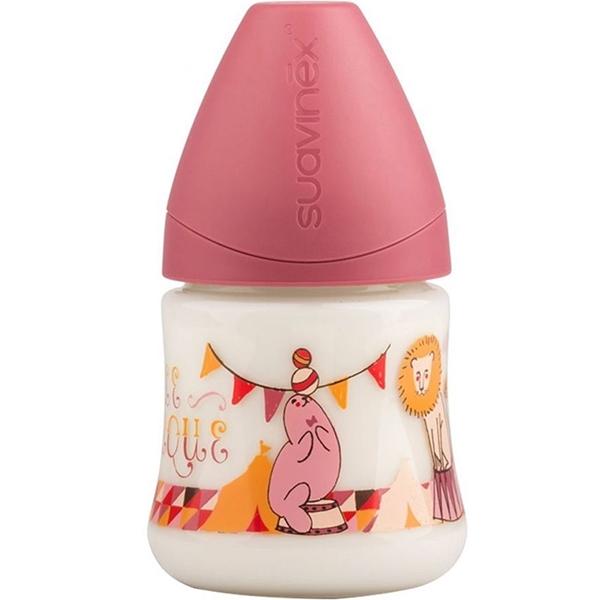 Suavinex Πλαστικό Μπιμπερό Circus Pink με Ανατομική Θηλή Σιλικόνης 150ml 0-6m+