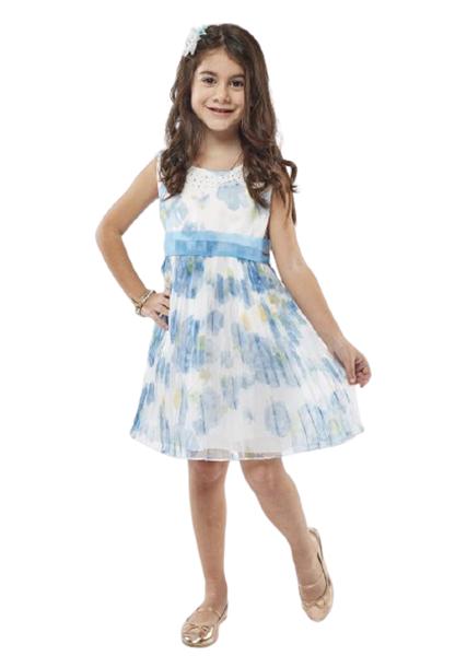 Εβίτα Fashion Παιδικό Φόρεμα Με Στέκα, Σιέλ