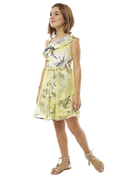 Εβίτα Fashion Φόρεμα Με Τιράντα Και Ζωνάκι, Εμπριμέ