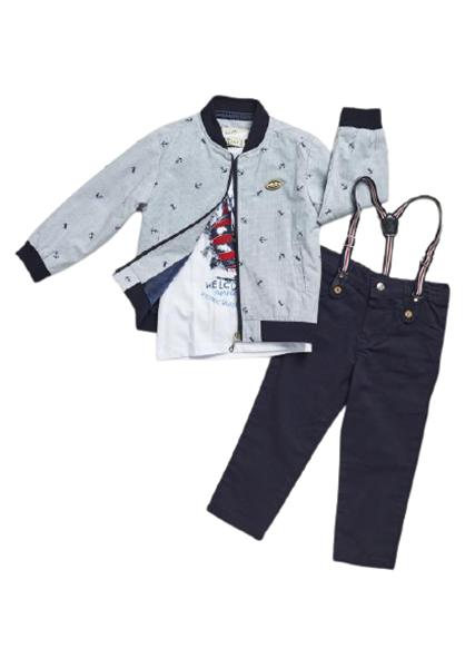 Hashtag Παιδικό Σετ 3 Τμχ Μπουφάν, Μπλούζα και Παντελόνι Για Αγόρι, Navy