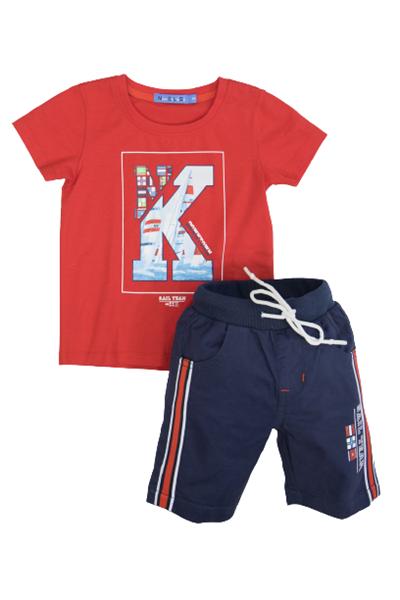 New College Παιδικό Σετ Υφασμάτινη Βερμούδα Με Μπλούζα Κ, Κόκκινο