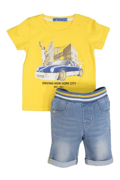 New College Παιδικό Σετ Βερμούδα Με Μπλούζα New York, Κίτρινο