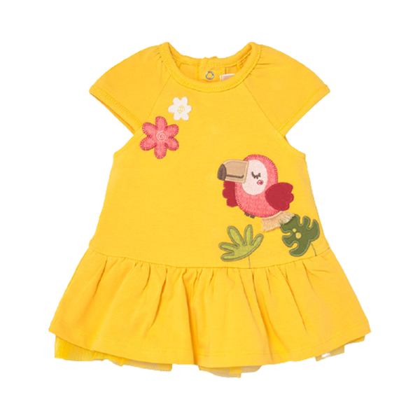 Mayoral Bebe Μακώ Φόρεμα Για Νεογέννητο Κορίτσι Toucan, Κίτρινο