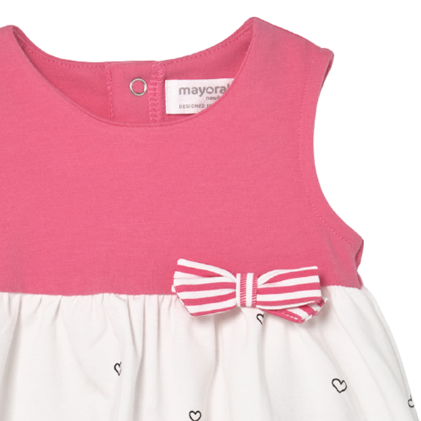 Mayoral Bebe Μακώ Φόρεμα Για Νεογέννητο Κορίτσι Καρδούλες, Ροζ