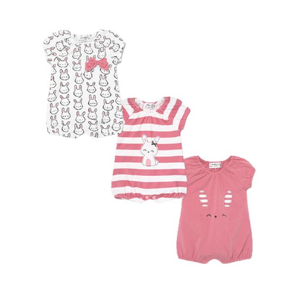 Mayoral Σετ 3 Φορμάκια Για Νεογέννητο Κορίτσι Rabbit, ροζ
